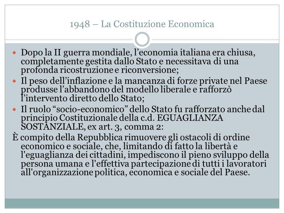 1948 – La Costituzione Economica Dopo la II guerra mondiale, l'economia italiana era chiusa, completamente gestita dallo Stato e necessitava di una pr