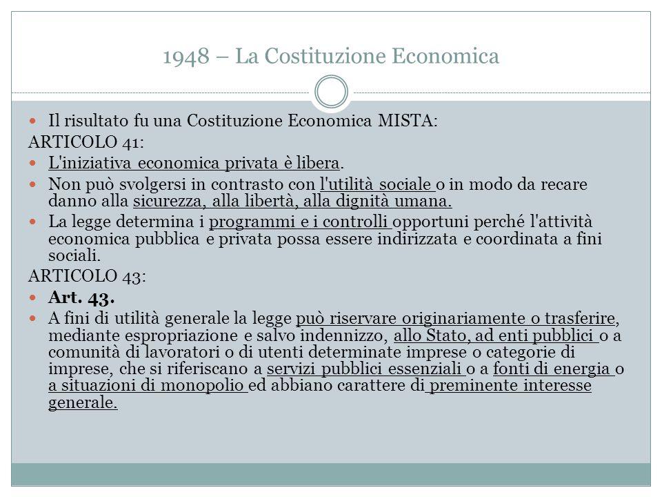 1948 – La Costituzione Economica Il risultato fu una Costituzione Economica MISTA: ARTICOLO 41: L'iniziativa economica privata è libera. Non può svolg