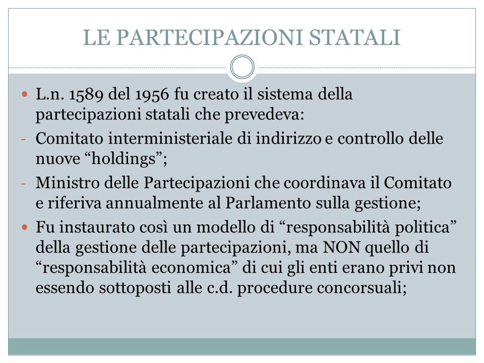 LE PARTECIPAZIONI STATALI L.n. 1589 del 1956 fu creato il sistema della partecipazioni statali che prevedeva: - Comitato interministeriale di indirizz
