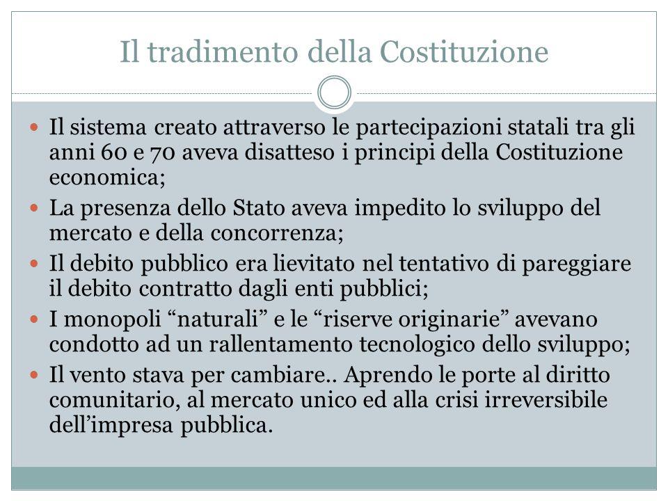 Il tradimento della Costituzione Il sistema creato attraverso le partecipazioni statali tra gli anni 60 e 70 aveva disatteso i principi della Costituz