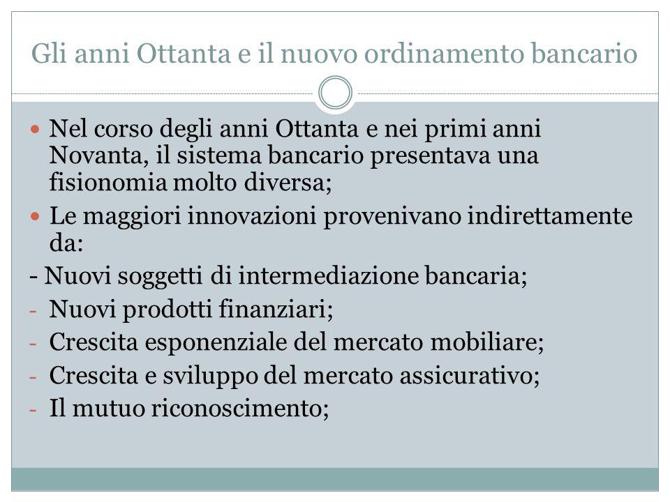 Gli anni Ottanta e il nuovo ordinamento bancario Nel corso degli anni Ottanta e nei primi anni Novanta, il sistema bancario presentava una fisionomia