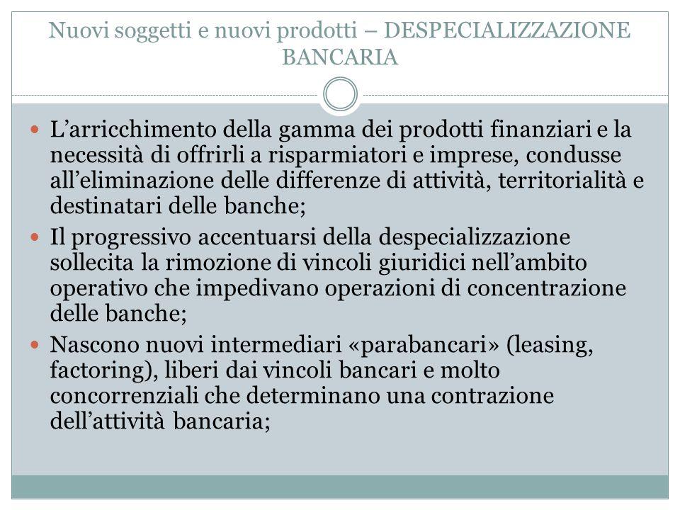 Nuovi soggetti e nuovi prodotti – DESPECIALIZZAZIONE BANCARIA L'arricchimento della gamma dei prodotti finanziari e la necessità di offrirli a risparm