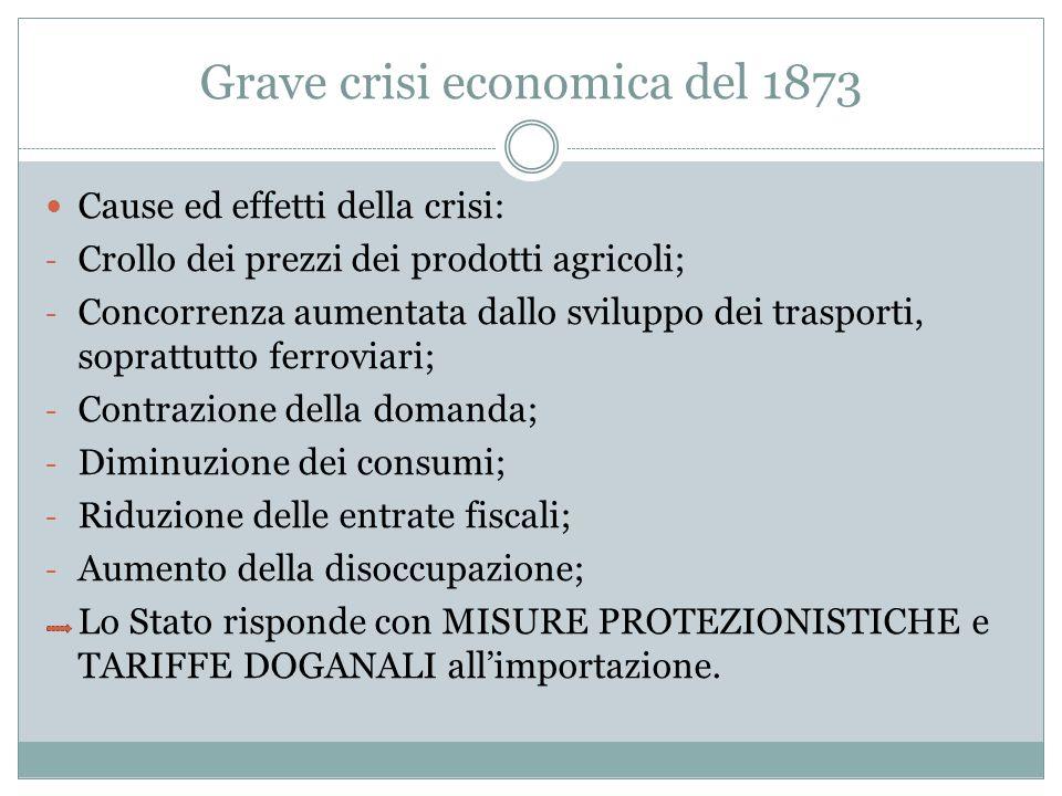 Grave crisi economica del 1873 Cause ed effetti della crisi: - Crollo dei prezzi dei prodotti agricoli; - Concorrenza aumentata dallo sviluppo dei tra