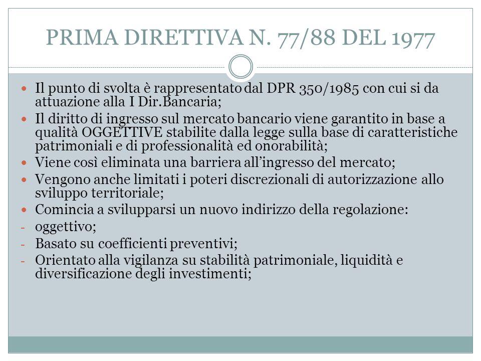 PRIMA DIRETTIVA N. 77/88 DEL 1977 Il punto di svolta è rappresentato dal DPR 350/1985 con cui si da attuazione alla I Dir.Bancaria; Il diritto di ingr