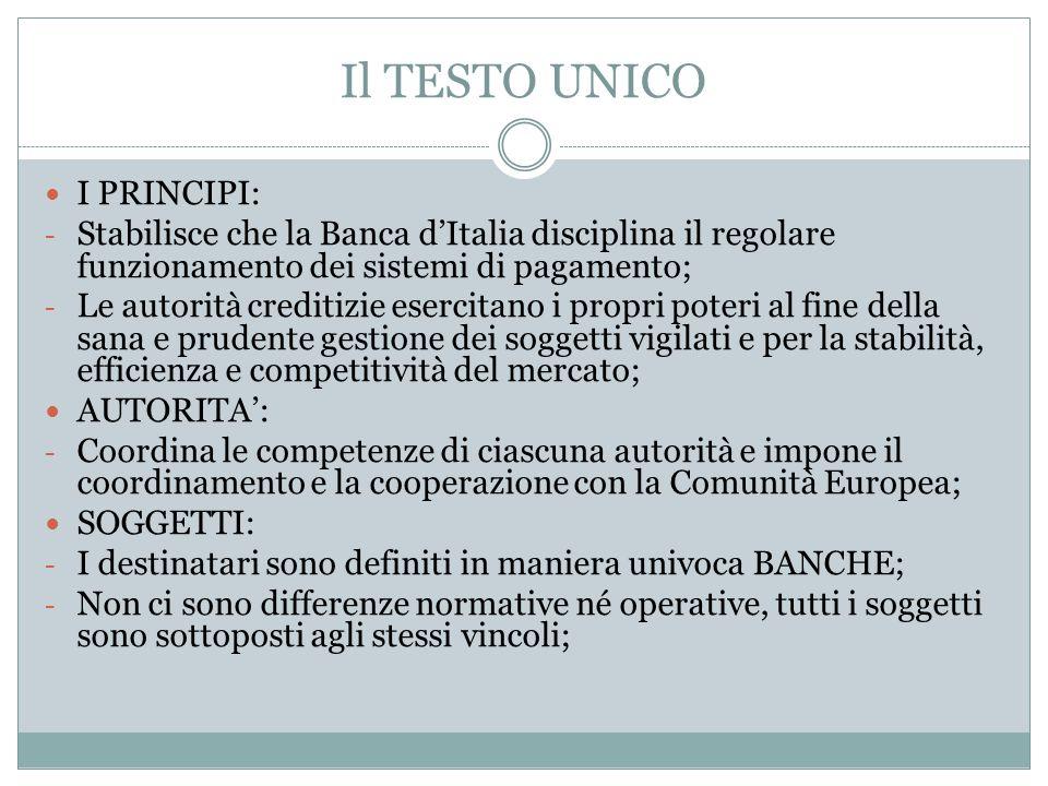 Il TESTO UNICO I PRINCIPI: - Stabilisce che la Banca d'Italia disciplina il regolare funzionamento dei sistemi di pagamento; - Le autorità creditizie