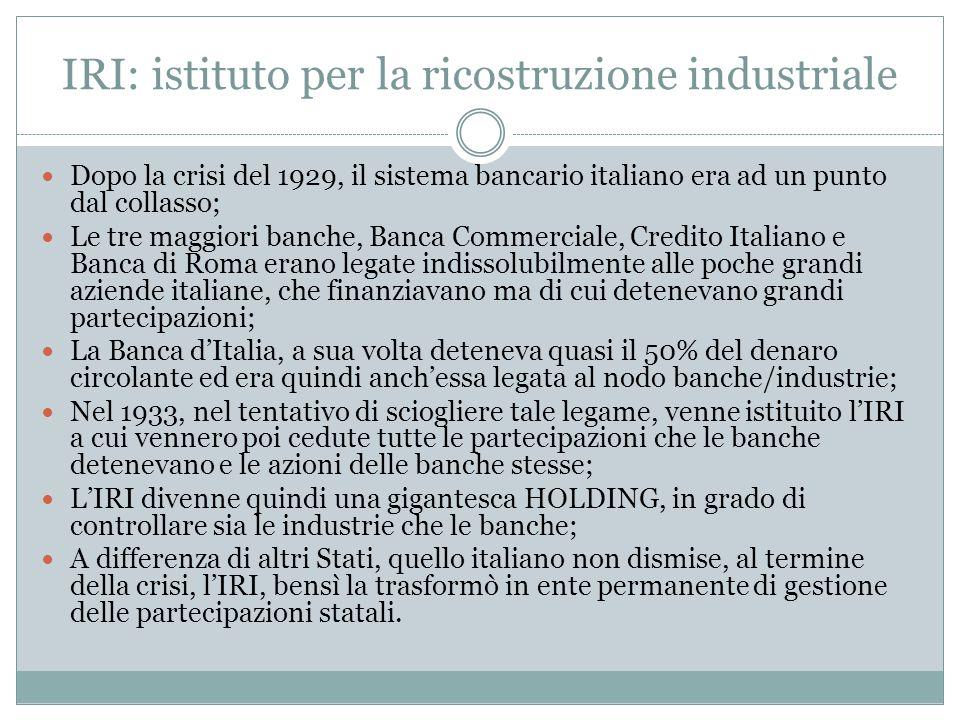 IRI: istituto per la ricostruzione industriale Dopo la crisi del 1929, il sistema bancario italiano era ad un punto dal collasso; Le tre maggiori banc