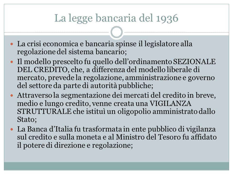 La legge bancaria del 1936 La crisi economica e bancaria spinse il legislatore alla regolazione del sistema bancario; Il modello prescelto fu quello d