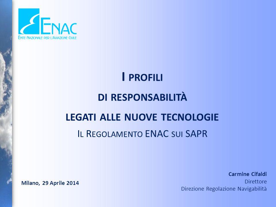 2 Il Regolamento dell'ENAC M EZZI A EREI A P ILOTAGGIO R EMOTO costituisce il Quadro giuridico per consentire le operazioni DEGLI A EROMOBILI A P ILOTAGGIO R EMOTO fornendo i requisiti di safety che devono essere soddisfatti per effettuare le operazioni 29/04/2014Regolamento ENAC sui SAPR
