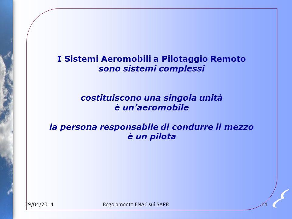 I Sistemi Aeromobili a Pilotaggio Remoto sono sistemi complessi costituiscono una singola unità è un'aeromobile la persona responsabile di condurre il