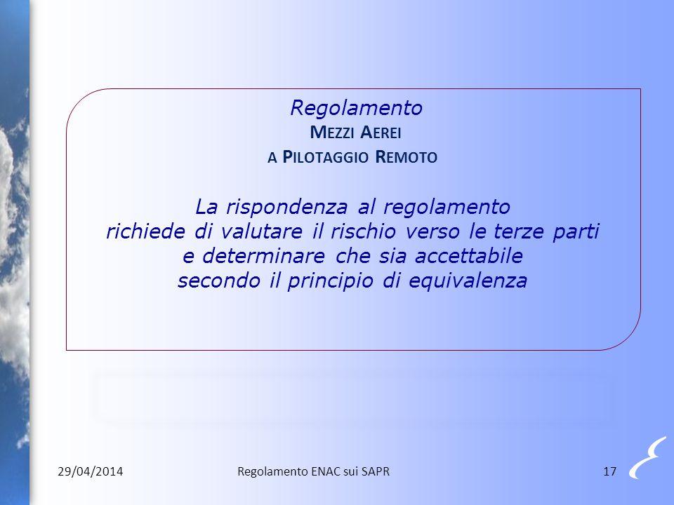 Regolamento M EZZI A EREI A P ILOTAGGIO R EMOTO La rispondenza al regolamento richiede di valutare il rischio verso le terze parti e determinare che s