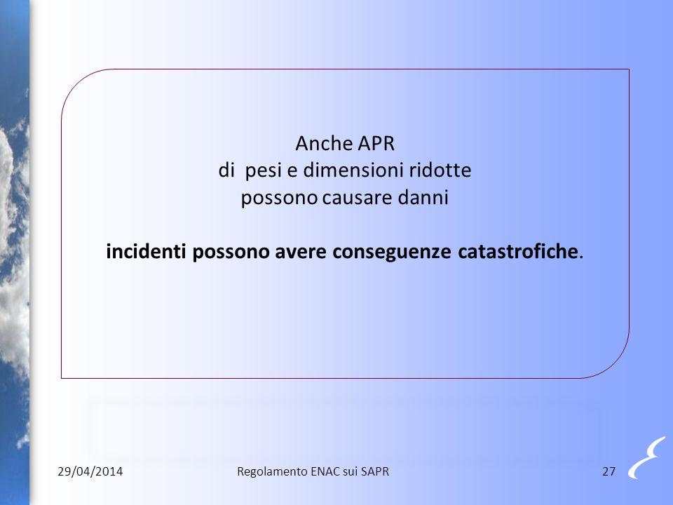 Anche APR di pesi e dimensioni ridotte possono causare danni incidenti possono avere conseguenze catastrofiche. 29/04/201427Regolamento ENAC sui SAPR