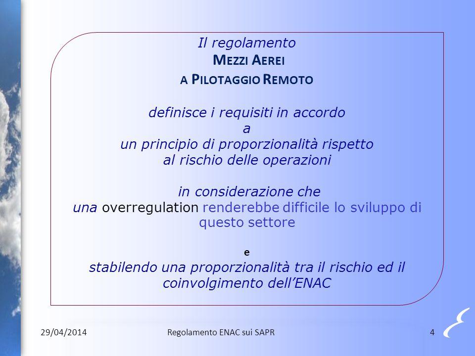 Il regolamento M EZZI A EREI A P ILOTAGGIO R EMOTO definisce i requisiti in accordo a un principio di proporzionalità rispetto al rischio delle operaz