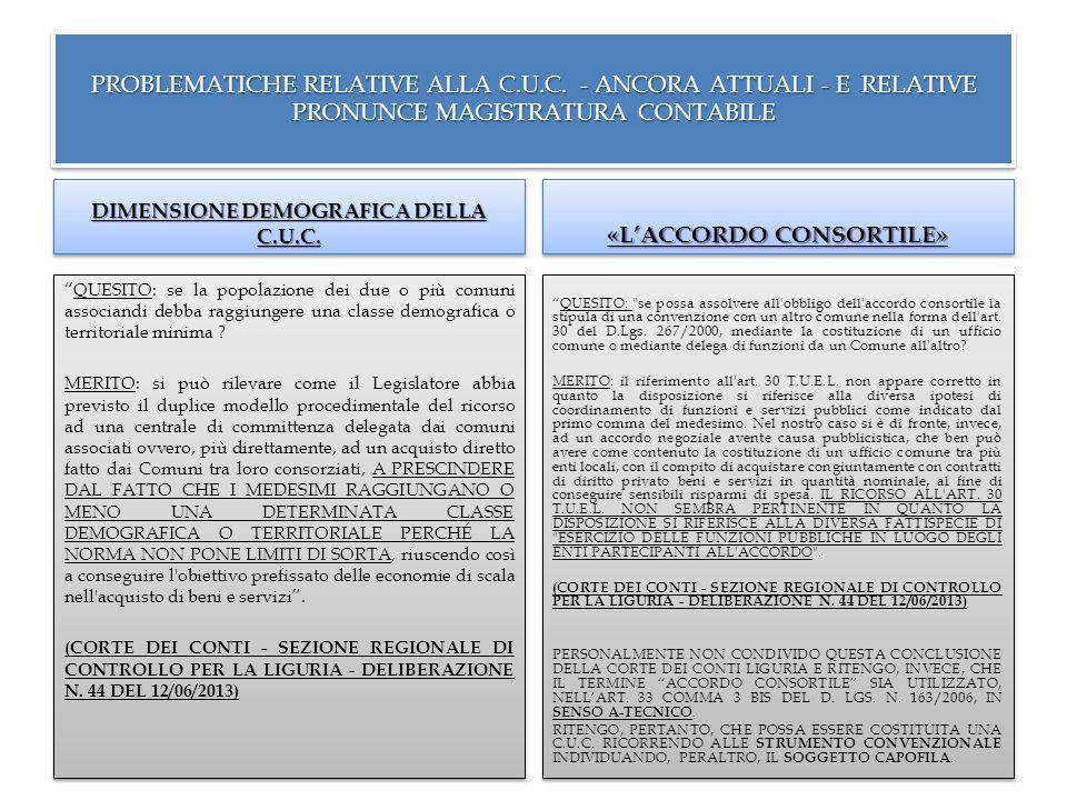 """PROBLEMATICHE RELATIVE ALLA C.U.C. - ANCORA ATTUALI - E RELATIVE PRONUNCE MAGISTRATURA CONTABILE DIMENSIONE DEMOGRAFICA DELLA C.U.C. """"QUESITO: se la p"""