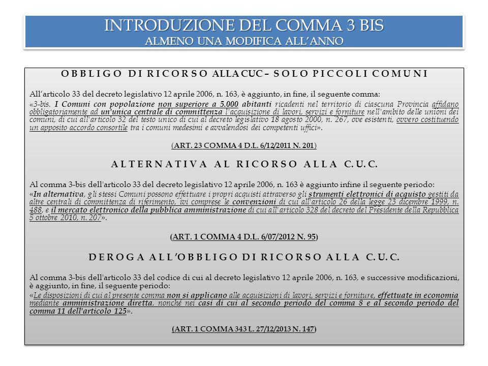ART.33 COMMA 3 BIS DEL D. LGS. N.
