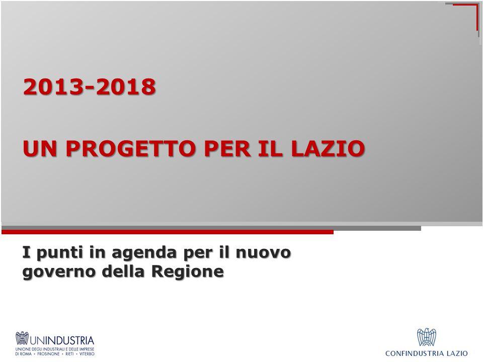 2013-2018 UN PROGETTO PER IL LAZIO I punti in agenda per il nuovo governo della Regione