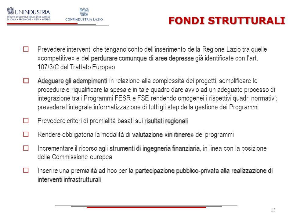 FONDI STRUTTURALI perdurare comunque di aree depresse  Prevedere interventi che tengano conto dell'inserimento della Regione Lazio tra quelle «compet
