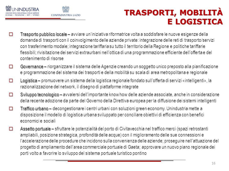 16 TRASPORTI, MOBILITÀ E LOGISTICA  Trasporto pubblico locale –  Trasporto pubblico locale – avviare un'iniziativa riformatrice volta a soddisfare l