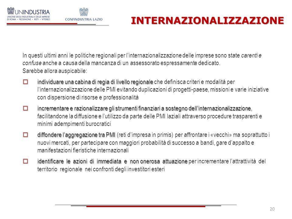 In questi ultimi anni le politiche regionali per l'internazionalizzazione delle imprese sono state carenti e confuse anche a causa della mancanza di u