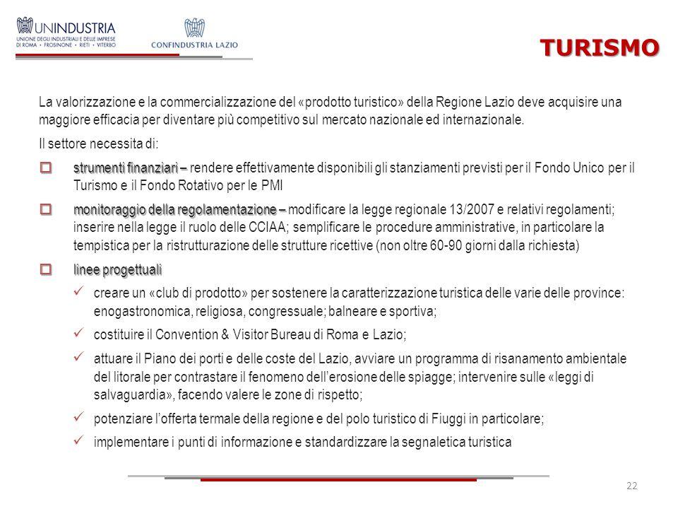 22 La valorizzazione e la commercializzazione del «prodotto turistico» della Regione Lazio deve acquisire una maggiore efficacia per diventare più com