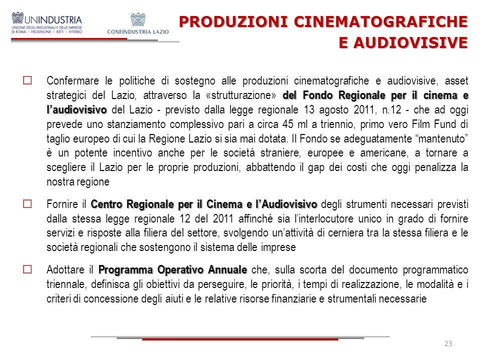 PRODUZIONI CINEMATOGRAFICHE E AUDIOVISIVE del Fondo Regionale per il cinema e l'audiovisivo  Confermare le politiche di sostegno alle produzioni cine