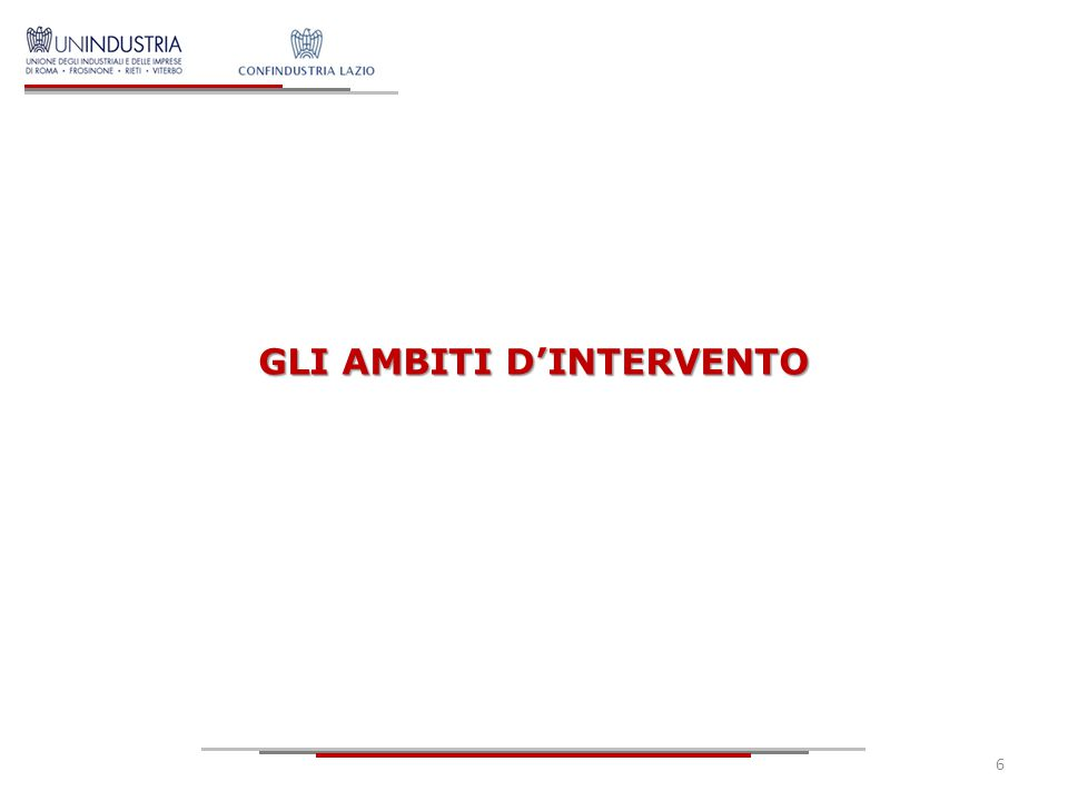 GLI AMBITI D'INTERVENTO 6