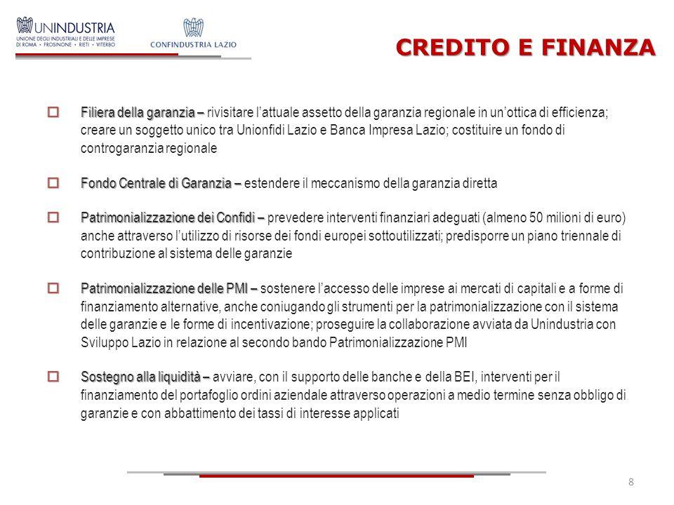8 CREDITO E FINANZA  Filiera della garanzia –  Filiera della garanzia – rivisitare l'attuale assetto della garanzia regionale in un'ottica di effici