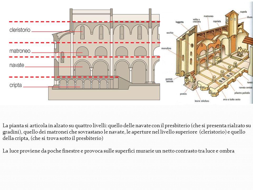 La pianta si articola in alzato su quattro livelli: quello delle navate con il presbiterio (che si presenta rialzato su gradini), quello dei matronei