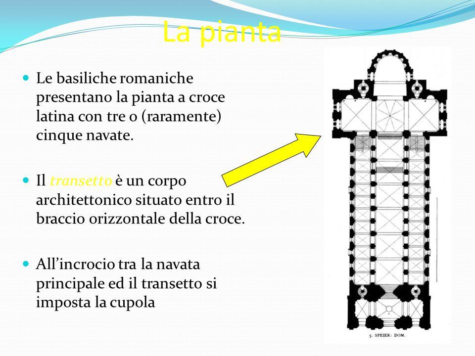 La pianta Le basiliche romaniche presentano la pianta a croce latina con tre o (raramente) cinque navate. Il transetto è un corpo architettonico situa