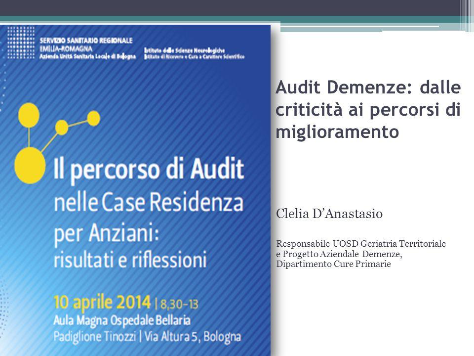Audit Demenze: dalle criticità ai percorsi di miglioramento Clelia D'Anastasio Responsabile UOSD Geriatria Territoriale e Progetto Aziendale Demenze,