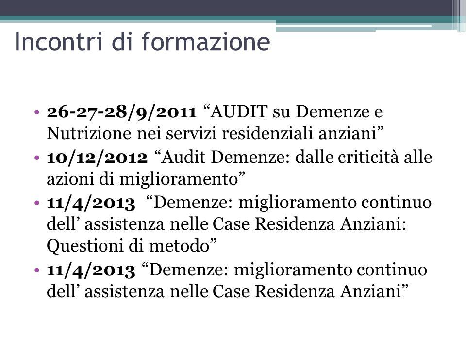 "Incontri di formazione 26-27-28/9/2011 ""AUDIT su Demenze e Nutrizione nei servizi residenziali anziani"" 10/12/2012 ""Audit Demenze: dalle criticità all"