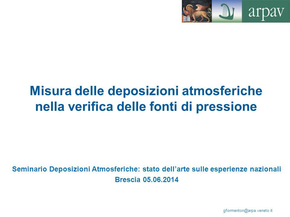 Misura delle deposizioni atmosferiche nella verifica delle fonti di pressione Seminario Deposizioni Atmosferiche: stato dell'arte sulle esperienze naz