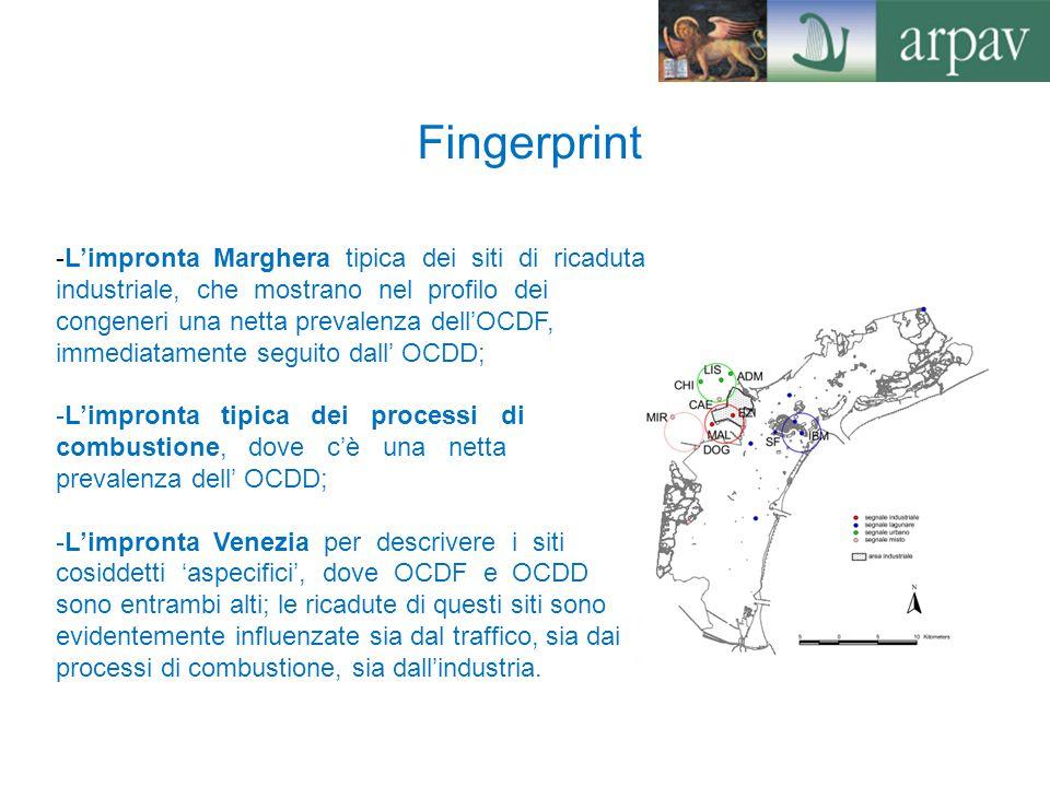 Deposizione di microinquinanti organici I tassi annui di deposizione, in unità WHO- TE, della somma di diossine e furani calcolati durante le indagini del Magistrato alle Acque di Venezia, negli anni 2007 e 2008, variano tra 200 e 400 pg/m2/anno, corrispondenti a flussi giornalieri medi tra 0.6 e 1.1 pg/m2/giorno.