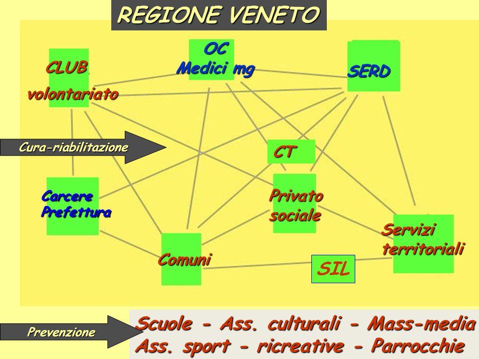 SERD CLUB Serviziterritoriali volontariato Comuni OC Medici mg Privato sociale CT REGIONE VENETO SIL Scuole - Ass.