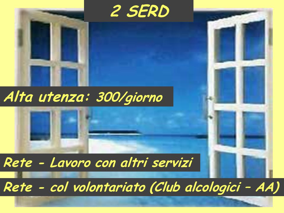 Rete - Lavoro con altri servizi Rete - col volontariato (Club alcologici – AA) 2 SERD Alta utenza: 300/giorno