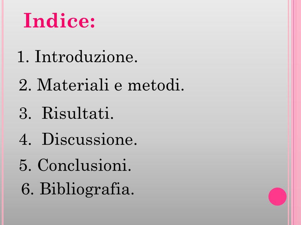 Indice: 1. Introduzione. 2. Materiali e metodi. 3. Risultati. 4. Discussione. 5. Conclusioni. 6. Bibliografia.