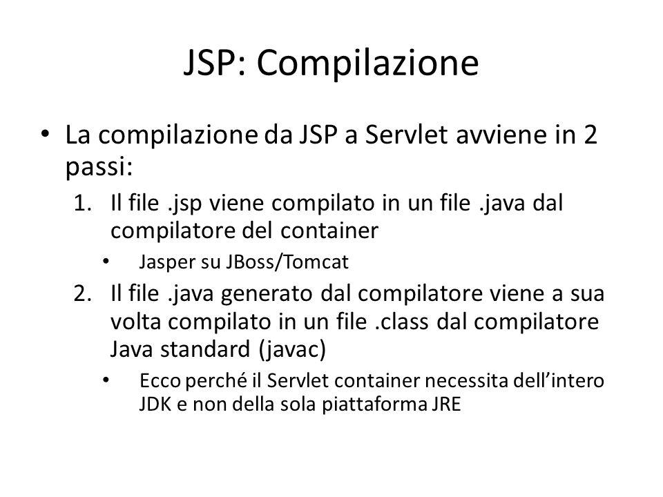 JSP: Compilazione La compilazione da JSP a Servlet avviene in 2 passi: 1.Il file.jsp viene compilato in un file.java dal compilatore del container Jasper su JBoss/Tomcat 2.Il file.java generato dal compilatore viene a sua volta compilato in un file.class dal compilatore Java standard (javac) Ecco perché il Servlet container necessita dell'intero JDK e non della sola piattaforma JRE