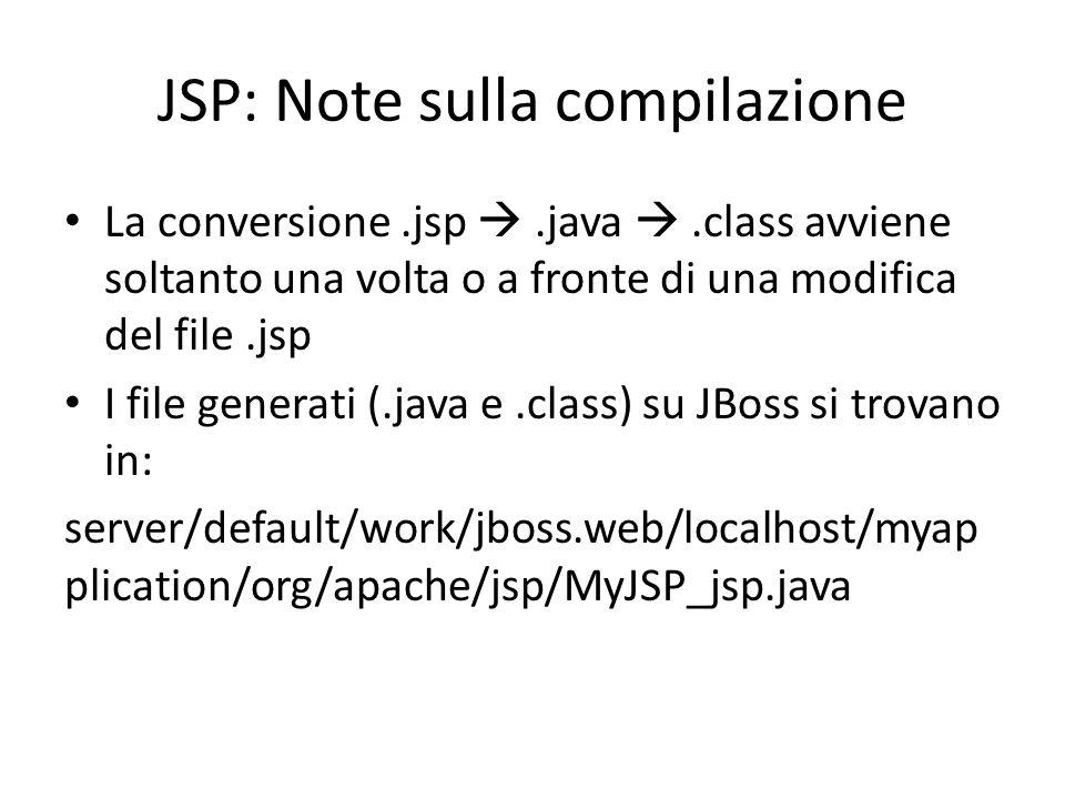 JSP: Note sulla compilazione La conversione.jsp .java .class avviene soltanto una volta o a fronte di una modifica del file.jsp I file generati (.java e.class) su JBoss si trovano in: server/default/work/jboss.web/localhost/myap plication/org/apache/jsp/MyJSP_jsp.java