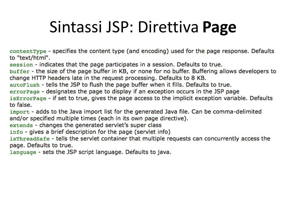 Sintassi JSP: Direttiva Page