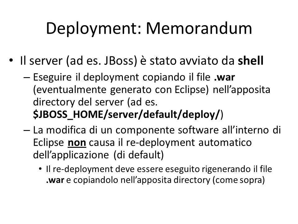 Deployment: Memorandum Il server (ad es.