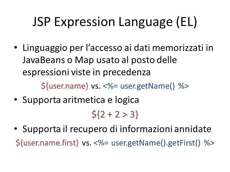 JSP Expression Language (EL) Linguaggio per l'accesso ai dati memorizzati in JavaBeans o Map usato al posto delle espressioni viste in precedenza ${user.name} vs.