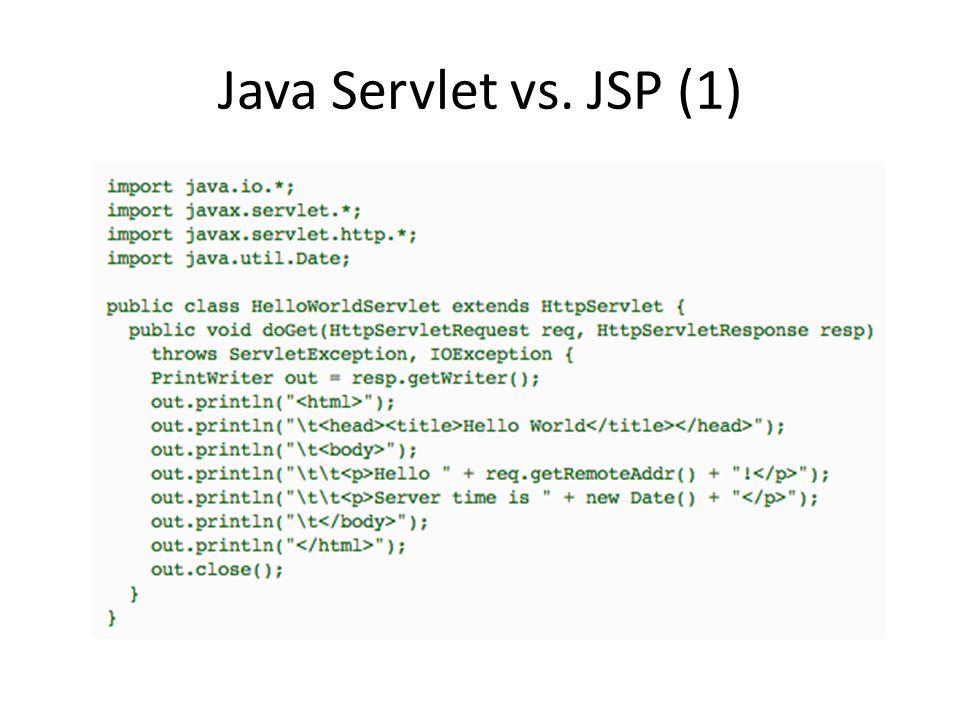 JSP API Il contenuto della pagina JSP viene eseguito all'interno del metodo generato _jspService Tutti i contenuti statici sono convertiti in chiamate a out.write() Tutti contenuti dinamici (inclusi nei tag ) vengono eseguiti come codice Java normale