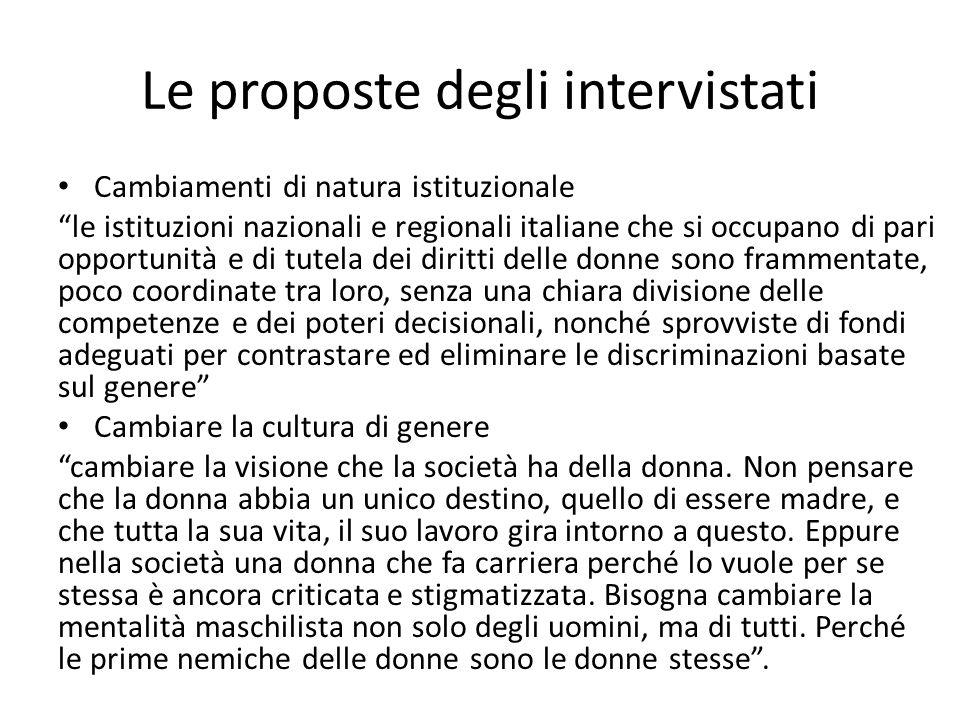 """Cambiamenti di natura istituzionale """"le istituzioni nazionali e regionali italiane che si occupano di pari opportunità e di tutela dei diritti delle d"""