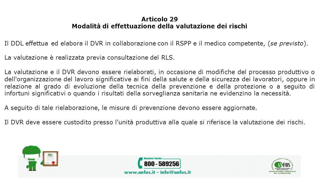 Articolo 29 Modalità di effettuazione della valutazione dei rischi Il DDL effettua ed elabora il DVR in collaborazione con il RSPP e il medico compete