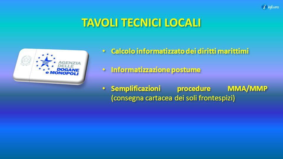 TAVOLI TECNICI LOCALI Calcolo informatizzato dei diritti marittimi Informatizzazione postume Semplificazioni procedure MMA/MMP (consegna cartacea dei
