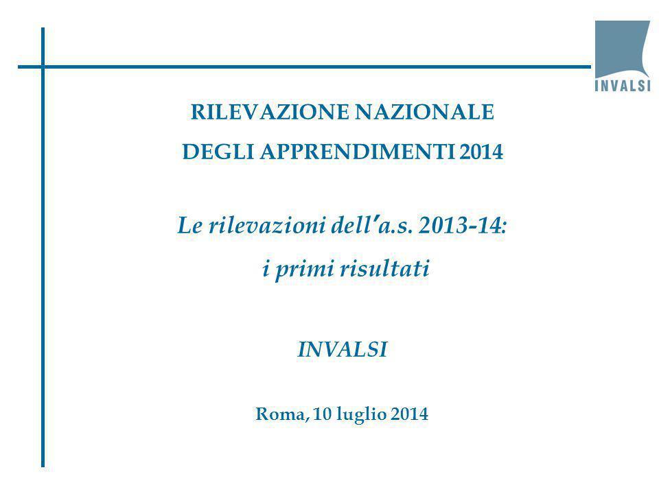 RILEVAZIONE NAZIONALE DEGLI APPRENDIMENTI 2014 Le rilevazioni dell'a.s. 2013-14: i primi risultati INVALSI Roma, 10 luglio 2014