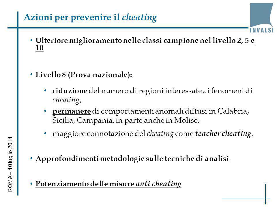 Azioni per prevenire il cheating ROMA – 10 luglio 2014 Ulteriore miglioramento nelle classi campione nel livello 2, 5 e 10 Livello 8 (Prova nazionale)