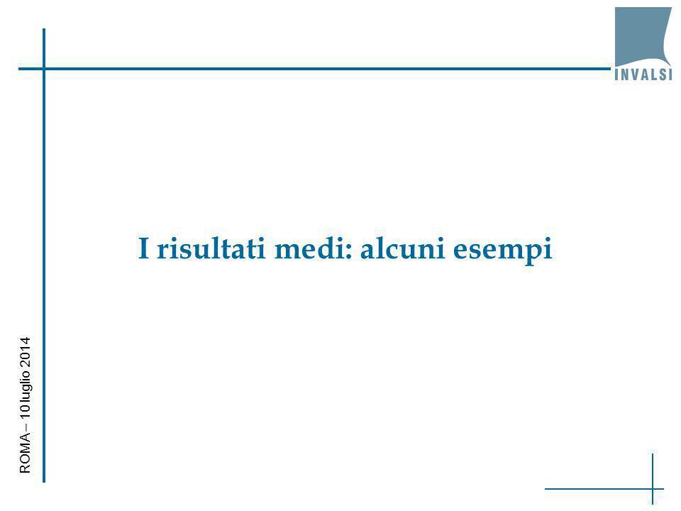 I risultati medi: alcuni esempi ROMA – 10 luglio 2014