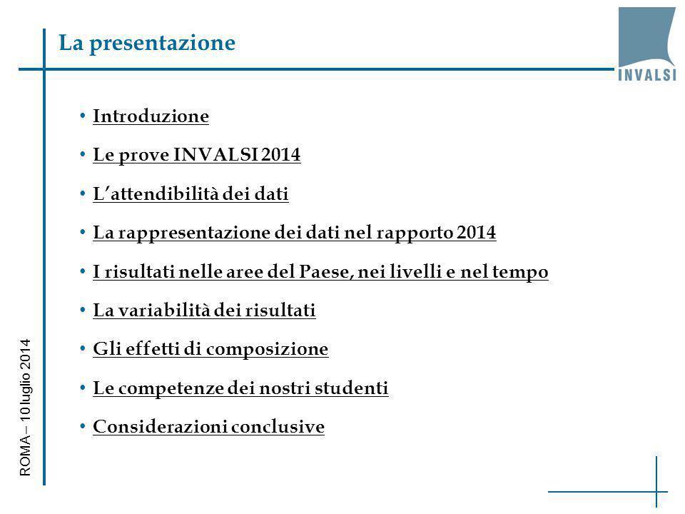 La presentazione Introduzione Le prove INVALSI 2014 L'attendibilità dei dati La rappresentazione dei dati nel rapporto 2014 I risultati nelle aree del