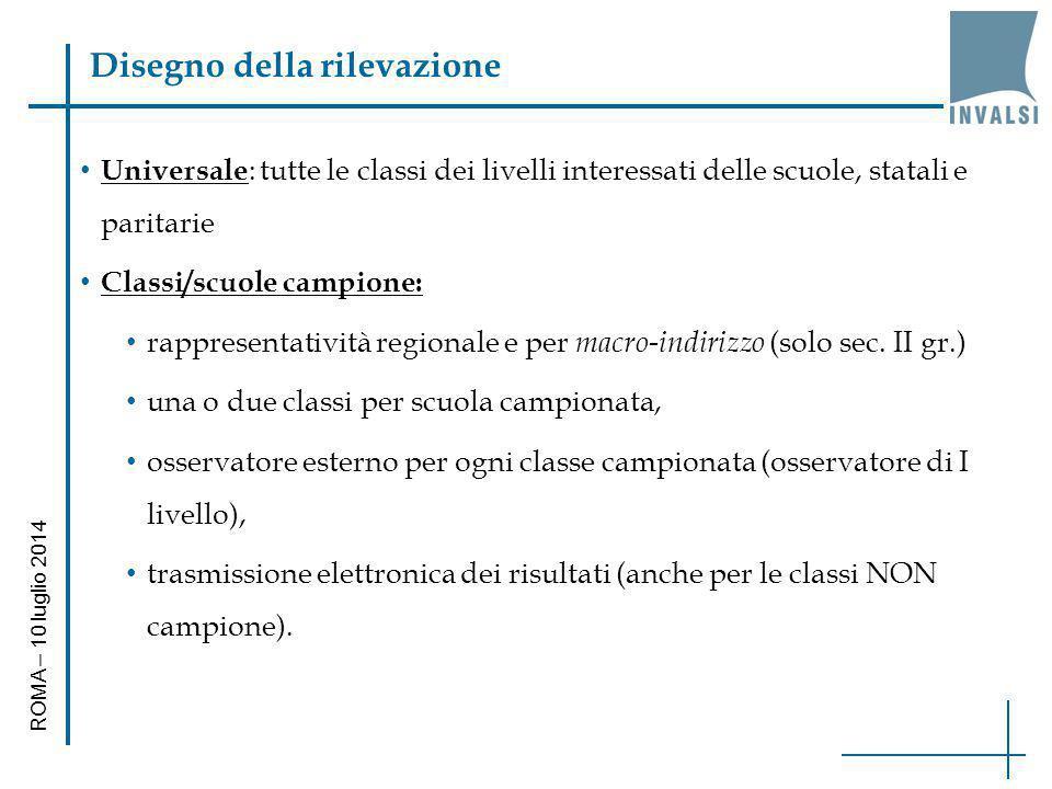 Disegno della rilevazione Universale : tutte le classi dei livelli interessati delle scuole, statali e paritarie Classi/scuole campione: rappresentati