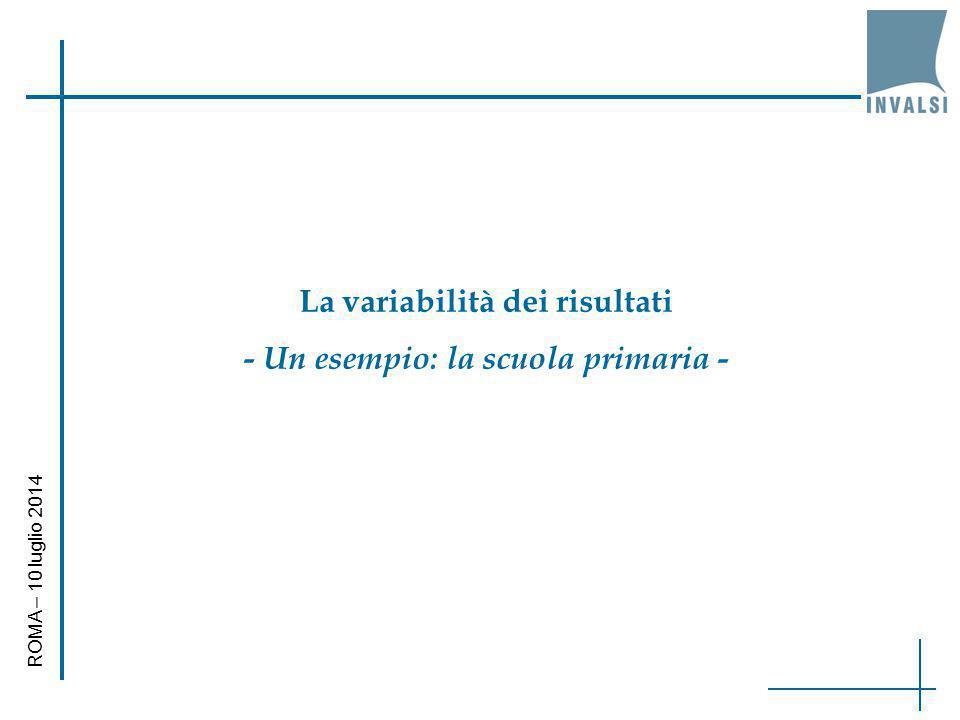 La variabilità dei risultati - Un esempio: la scuola primaria - ROMA – 10 luglio 2014